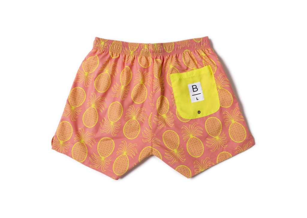 Men Swim Shorts Pineapple Yellow